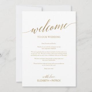 Elegant Gold Wedding Welcome Letter & Itinerary