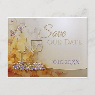 Elegant Gold Wine Themed Save the Date Announcement Postcard
