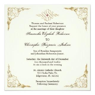 Elegant Golden Accent Gold Wedding Invite