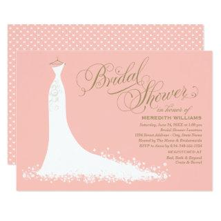 Elegant Gown | Blush Pink and Gold Bridal Shower Invitations