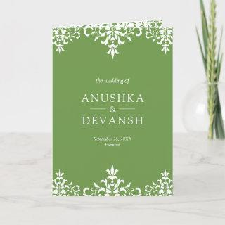 Elegant Green Damask Traditional Indian Wedding Invitations
