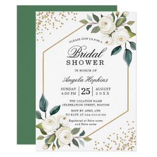 Elegant Green White Gold Floral Bridal Shower Invitation