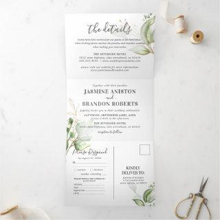Elegant Greenery and Gold Wedding Tri-Fold Invitations
