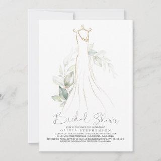 Elegant Greenery and Wedding Dress Bridal Shower Invitations