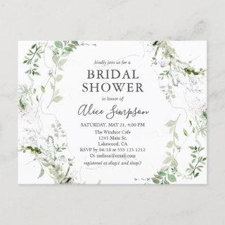 Elegant Greenery Bridal Shower Invitations Postcard
