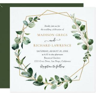 Elegant Greenery Gold Geometric Frame Wedding Invitation