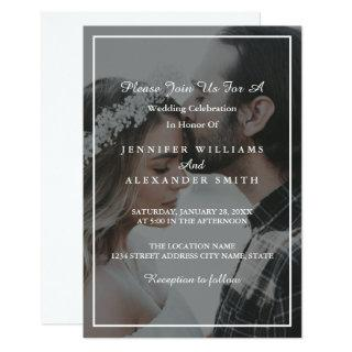 Elegant Grey & White Photo Wedding Invitations