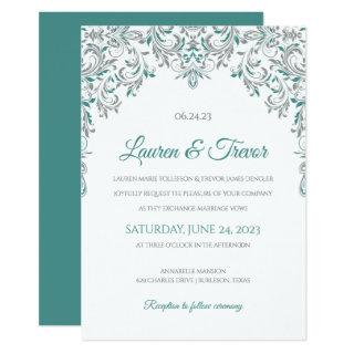Elegant Invitations | Kate (Teal Green & Gray)