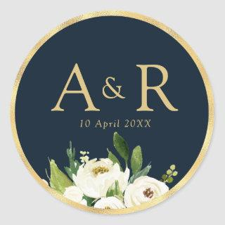 elegant ivory white floral navy wedding sticker