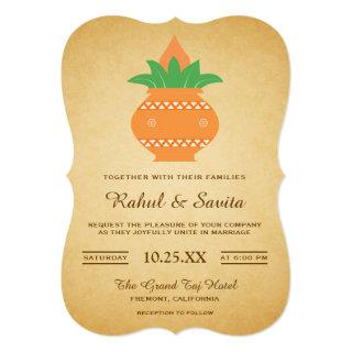 Elegant Kalash Vintage Indian Wedding Invitation