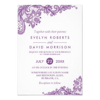 Elegant Lace Lavender Purple White Formal Wedding Invitations
