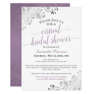 Elegant Lavender Gray White Virtual Bridal Shower Invitations