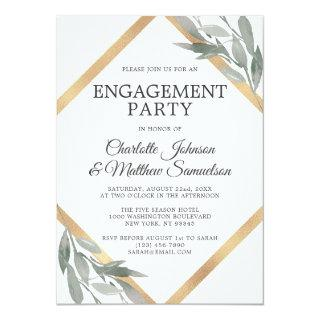 Elegant Leaf Sage Olive Gold Foil ENGAGEMENT PARTY Invitation