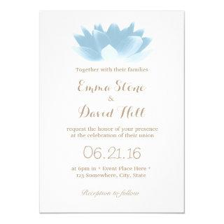 Elegant Light Blue Lotus Flower Wedding Invitations