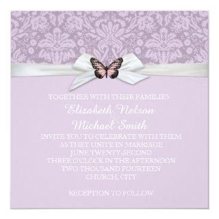 Elegant Lilac Tudor Damask Wedding Invite