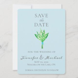 Elegant Lily of the Valley Bouquet Save the Date