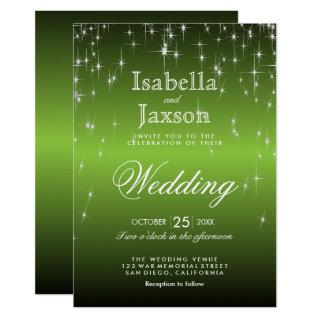 Elegant Lime Green Star Lights Wedding Invitation