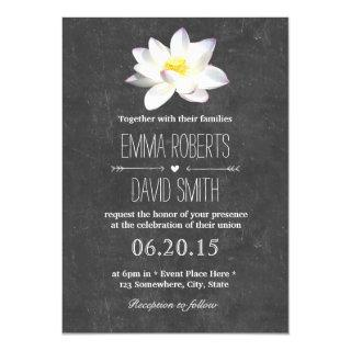 Elegant Lotus Floral Rustic Chalkboard Wedding Invitation