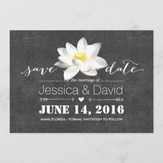 Elegant Lotus Flower Chalkboard Save the Date