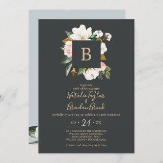 Elegant Magnolia | Black All In One Wedding Invitation