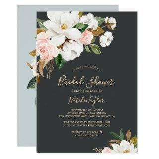 Elegant Magnolia | Black and White Bridal Shower Invitations