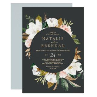 Elegant Magnolia | Black and White Casual Wedding Invitation