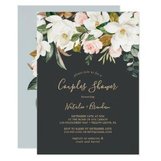 Elegant Magnolia | Black and White Couples Shower Invitations