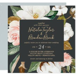 Elegant Magnolia | Black and White Square Wedding Invitations