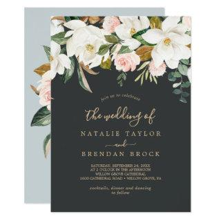 Elegant Magnolia | Black and White The Wedding Of Invitations
