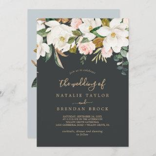 Elegant Magnolia | Black and White The Wedding Of Invitation