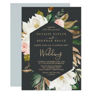 Elegant Magnolia | Black and White Wedding Invitations