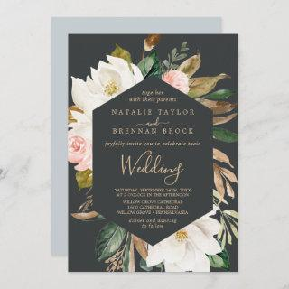 Elegant Magnolia | Black and White Wedding Invitation