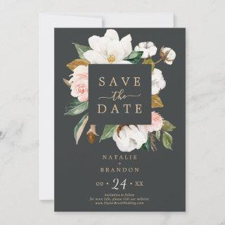 Elegant Magnolia | Black Save the Date Card