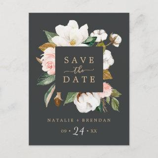 Elegant Magnolia | Black Save the Date Postcard