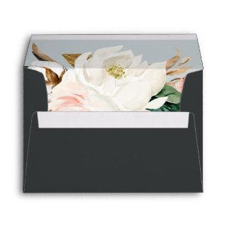 Elegant Magnolia | Black Wedding Invitations Envelope