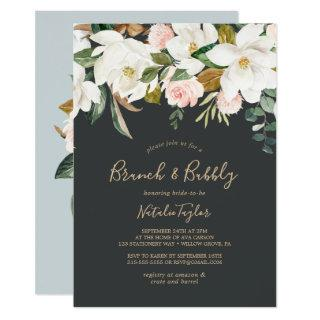 Elegant Magnolia | Black & White Brunch and Bubbly Invitations
