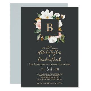 Elegant Magnolia | Black & White Monogram Wedding Invitations