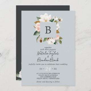 Elegant Magnolia Blue Gray All In One Wedding Invitations