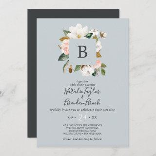 Elegant Magnolia | Blue Gray Monogram Wedding Invitations