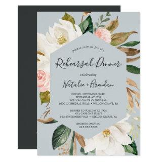 Elegant Magnolia Blue Gray Rehearsal Dinner Invitation