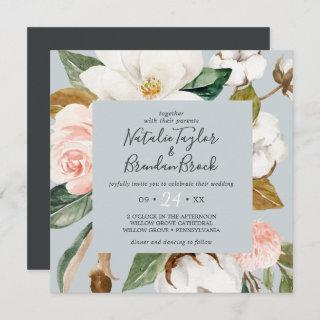 Elegant Magnolia | Blue Gray Square Wedding Invitation