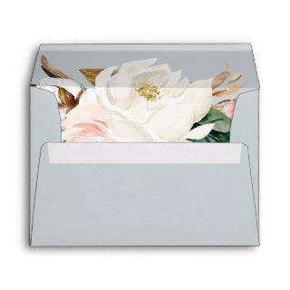Elegant Magnolia Blue Gray Wedding Invitations Envelope