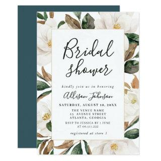 elegant magnolia bridal shower Invitations