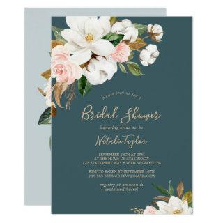 Elegant Magnolia | Teal and White Bridal Shower Invitations