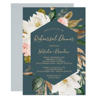 Elegant Magnolia Teal and White Rehearsal Dinner Invitation