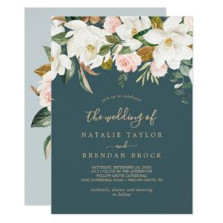 Elegant Magnolia | Teal and White The Wedding Of Invitations