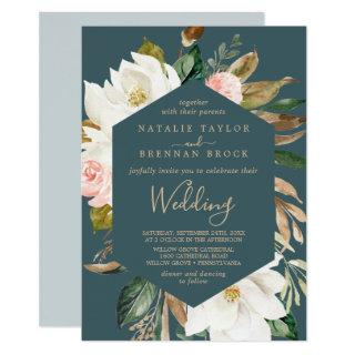 Elegant Magnolia | Teal and White Wedding Invitations