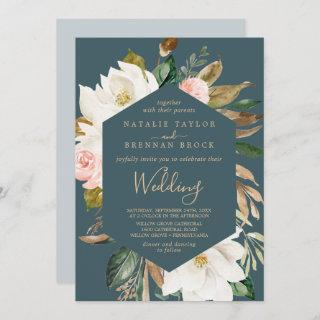 Elegant Magnolia | Teal and White Wedding Invitation