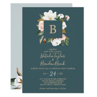 Elegant Magnolia | Teal & White All In One Wedding Invitation