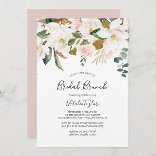 Elegant Magnolia | White and Blush Bridal Brunch Invitations